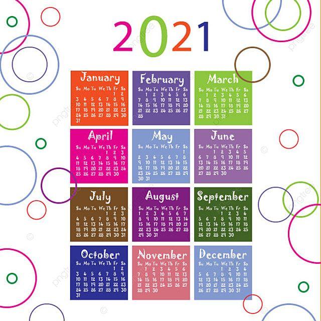 Colorful 2021 New Year Calendar Kalender Desain Kalender Kartu Flash