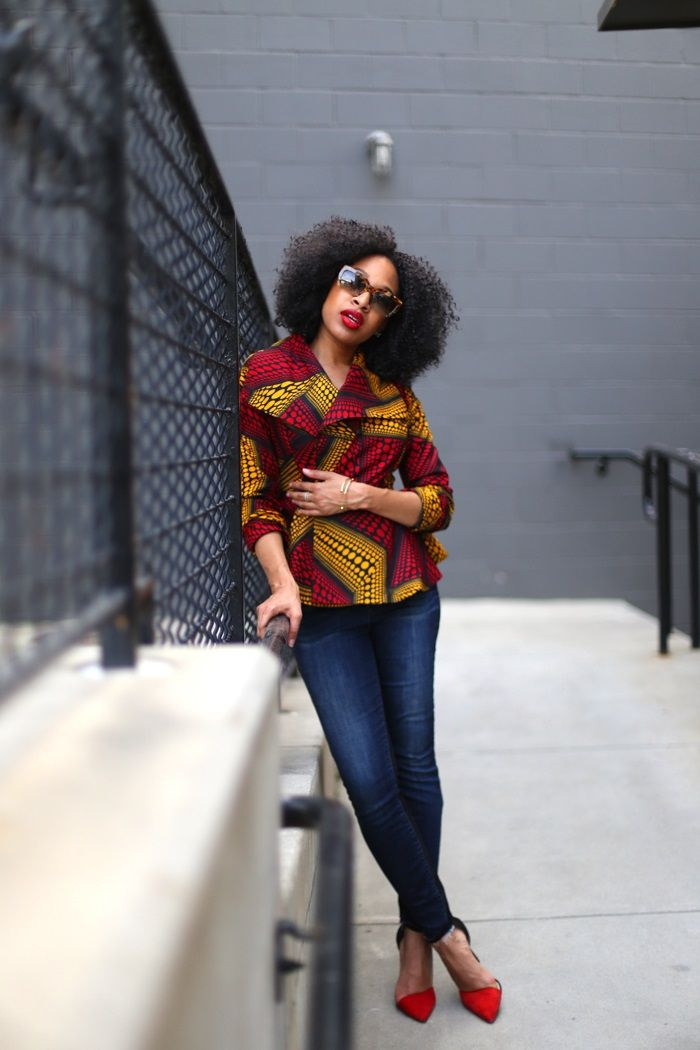 Inspiration - Veste peplum en pagne par Mattie James - Pagnifik #afrochic #ankara #casual