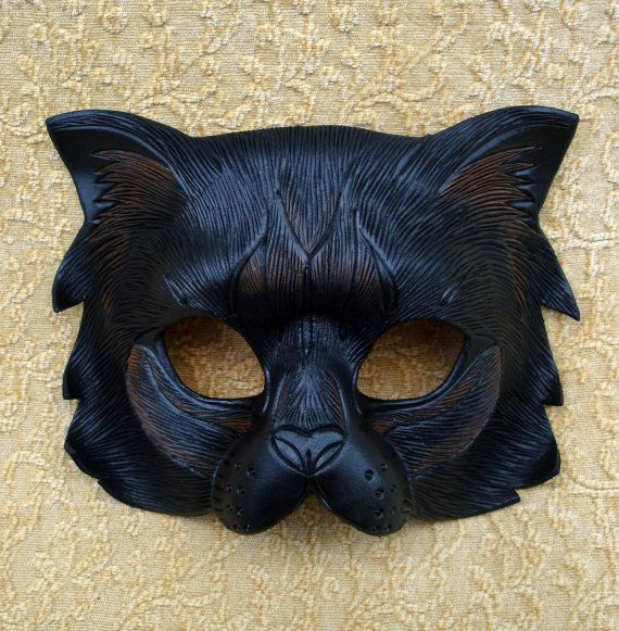 Longhaired Black Cat Mask  ...limited edition handmade leather cat mask.