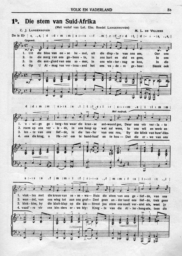 Die oorspronklike volkslied van Suid-Afrika. Geskryf deur C.J. Langenhoven en getoonset deur M.L. de Villiers.