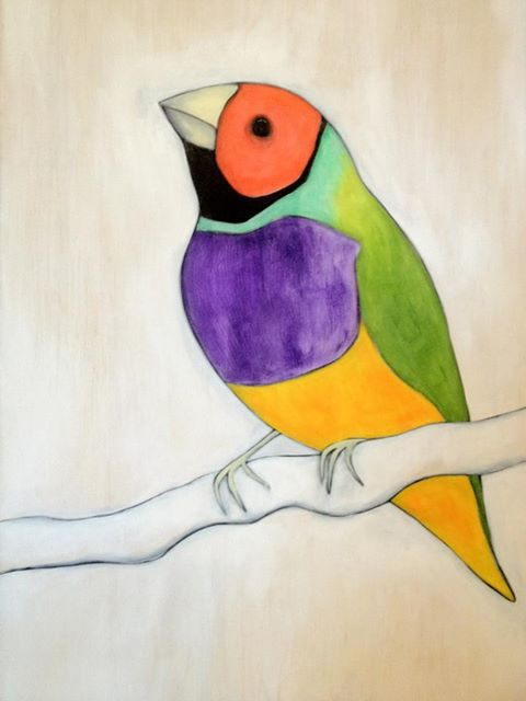 'Rainbow Bird' aka Gouldian Finch.  I was pretty excited when I first saw one of these beauties…and just as elated whilst painting it.  Oil & acrylic on wood.  Love. Clean. Lines.