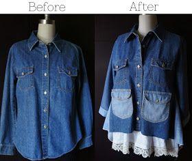 DiaryofaCreativeFanatic: Restyle - Denim Shirt Makeover