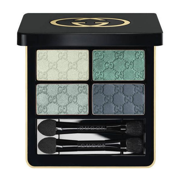 Gucci Aquamarine Dream, Magnetic Color Shadow Quad (2,730 DOP) ❤ liked on Polyvore featuring beauty products, makeup, eye makeup, eyeshadow, aquamarine, beauty, eyes, eyeshadows, eyeshadow brushes and eye shadow brush