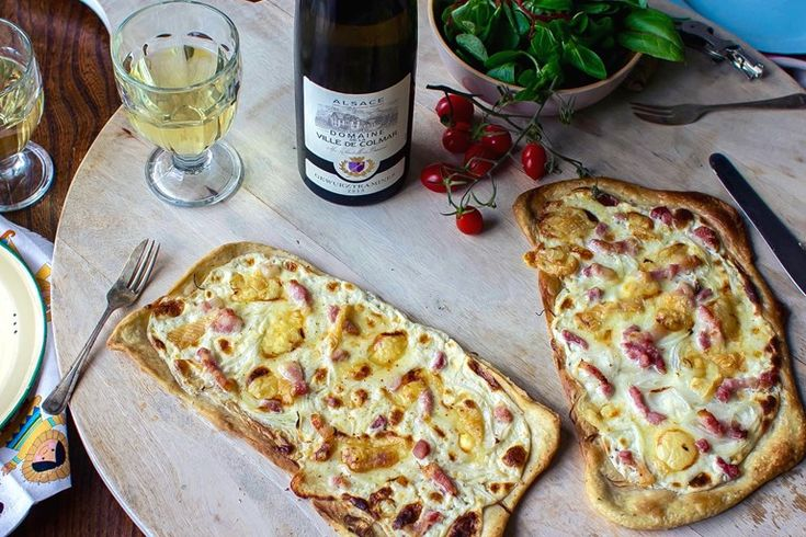 Rosanna McPhee's tarte flambée au Munster recipe celebrates the region of Alsace, with Munster cheese, bacon and onion scattered over a creamy cheese base on crisp, golden flatbread. Enjoy with a crisp glass of Gewurztraminer.