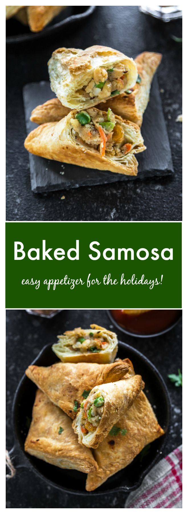 Vegan-friendly samosas filled with peas, carrots, raisins and potatoes. These crisp, golden-brown samosas make a great appetizer, side dish or snack!