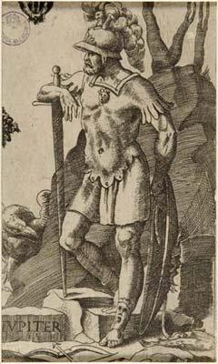 """Julius Bonasoni, """"Jupiter"""" (with his signs Pisces and Sagittarius), 16th century"""