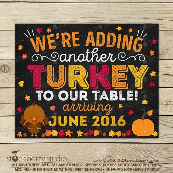 Thanksgiving Pregnancy Announcement Chalkboard by stockberrystudio