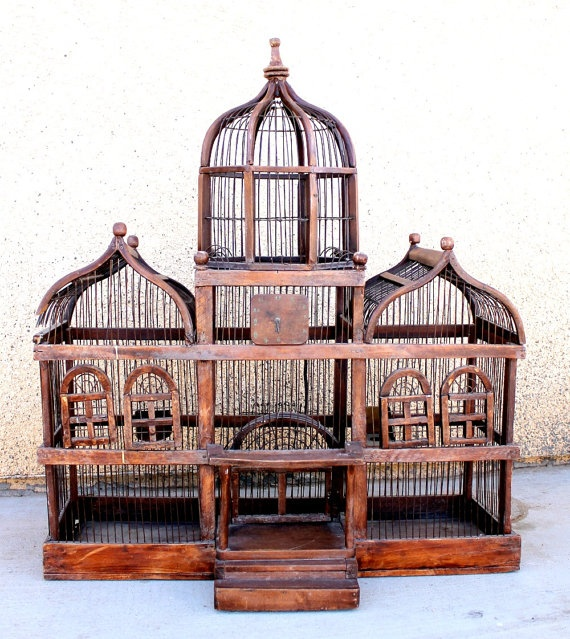 antique wooden birdcage large victorian style vintage birdcage i want a cool cage to put a. Black Bedroom Furniture Sets. Home Design Ideas