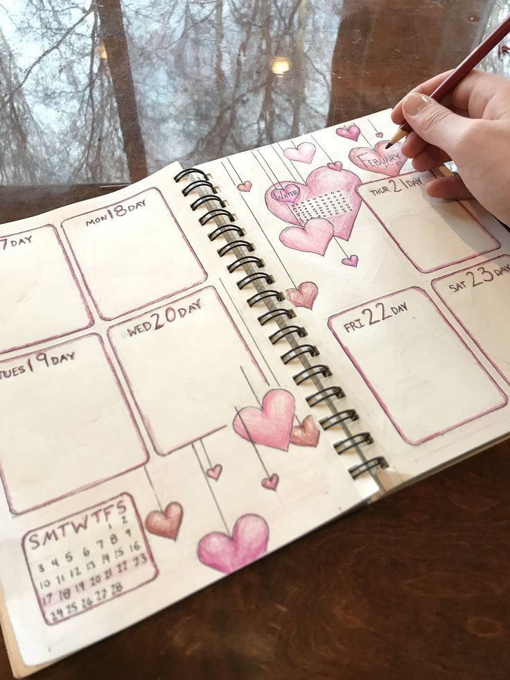 Bullet journal weekly spread valentine's day