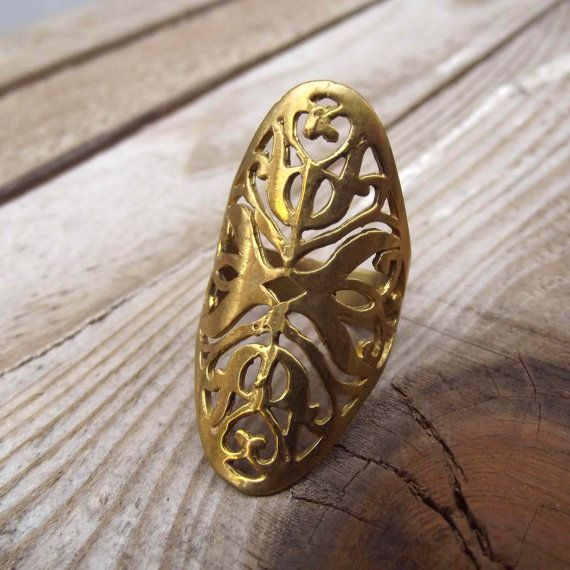 geometric ring geometric brass ring brass ring by silveringjewelry