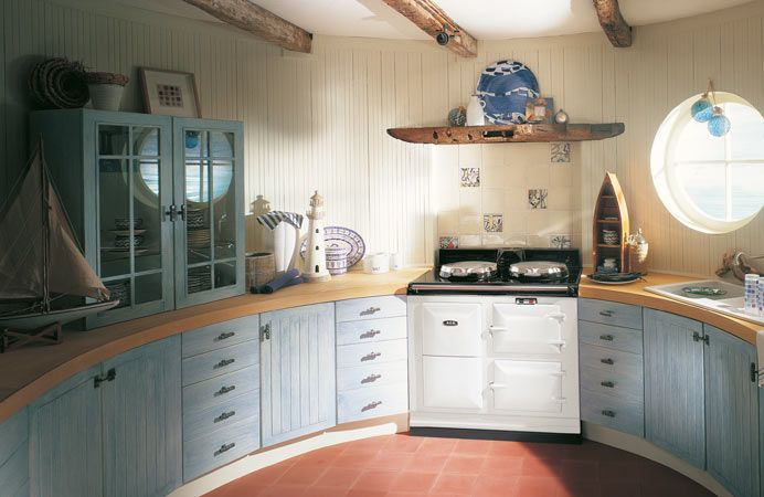 The 2-oven 30-amp AGA cooker in kitchen setting.
