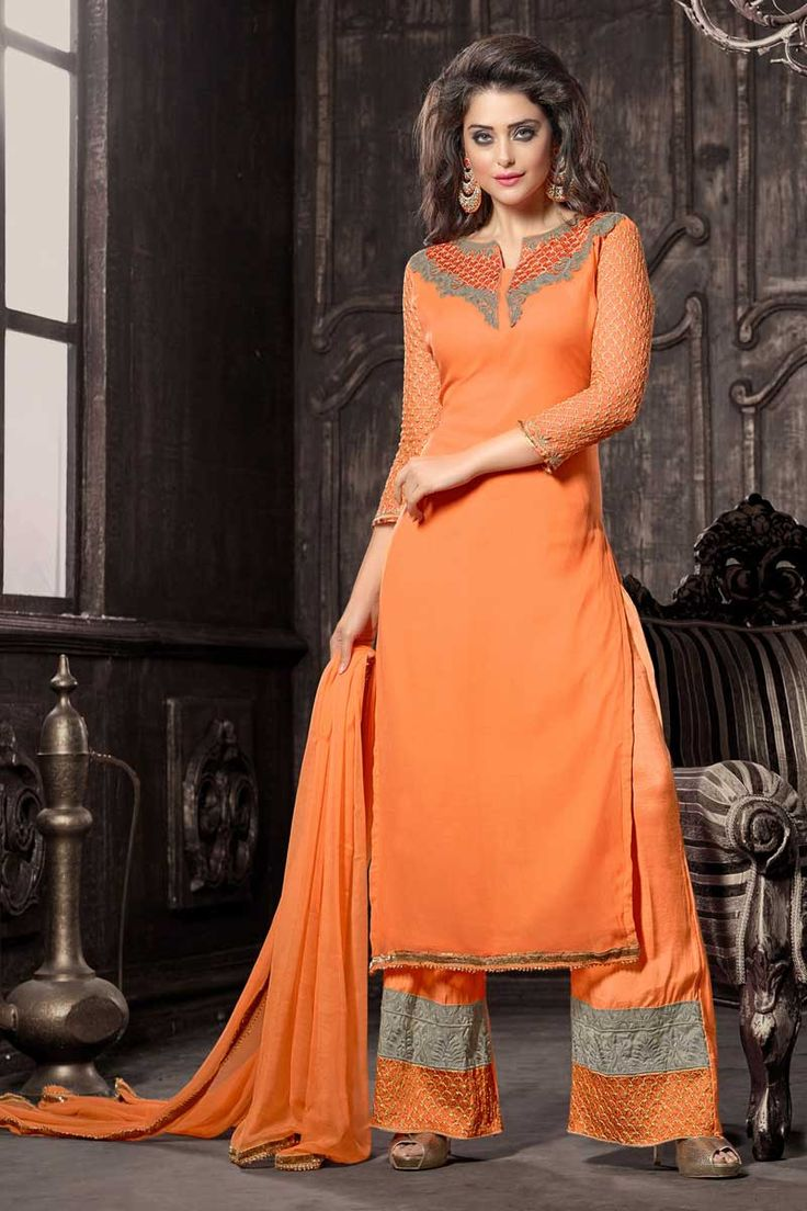 Orange georgette semi stictch trouser suit with price $75.54. Neck embroidered with resham.Low cut neck, Below knee length, three quarter sleeve kameez.Orange trouser with embroidered, resham and zari work.Orange chiffon dupatta with work.It is perfect for party, wedding, festival and ceremonial.  http://www.andaazfashion.us/orange-georgette-trouser-suit-with-chiffon-dupatta-dmv13353.html