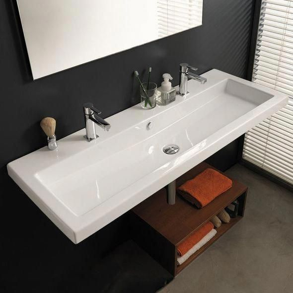Absolutely Design Bathroom Sink With Two Faucets Sinks Faucet Holes And One Drain Single Large Lon Wall Mount Faucet Bathroom Sink Bathroom Styling Trough Sink