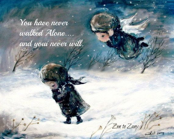 NEVER ALONE Print or Magnet  by Nino Chakvetadze  (choose size below)