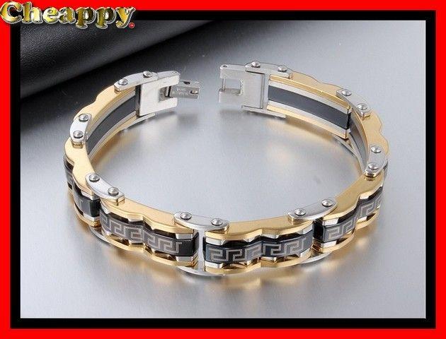 Mooie zwart en goudkleurige armband met byzantijnse motief - Cheappy