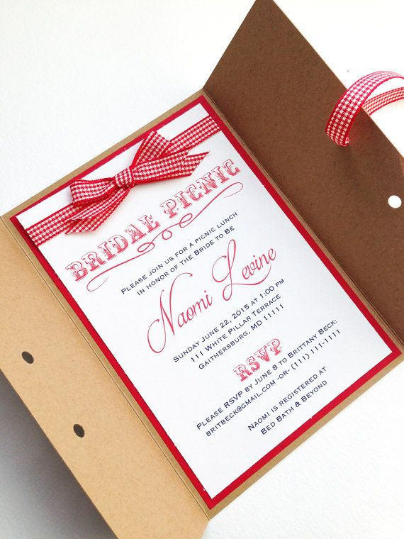 Rustic Picnic Bridal Shower Invitations by FoxOnTheMoonLLC on Etsy