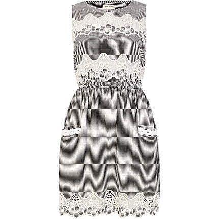 Navy stripe lace insert sleeveless dress - day dresses - dresses - women