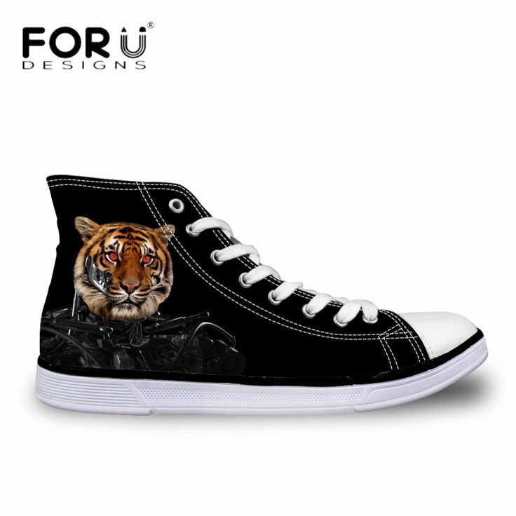 FORUDESIGNS Casual Men's High-top Shoes Cool Animal Tiger Dog Printed Canvas Shoes for Men Breathable Lace-up Vulcanize Shoes