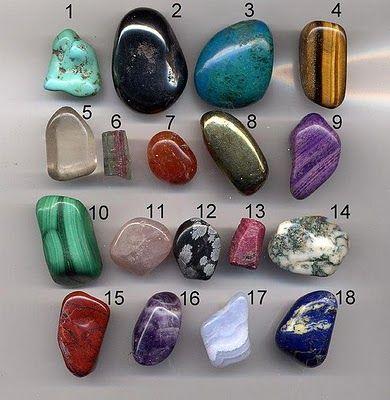 1-turquoise, 2-hematite, 3-chrysocolla, 4-tiger's eye, 5-quarts, 6-tourmaline, 7-carnelian, 8-pyrite, 9-sugilite, 10-malachite, 11-rose quarts, 12-snowflake obsidian, 13-ruby, 14-moss agate, 15-jasper, 16-amethyst, 17-blue lace agate, 18-lapiz lazuli