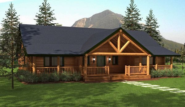 Ranch style homes hickory spring log home floor plans for One story log house plans