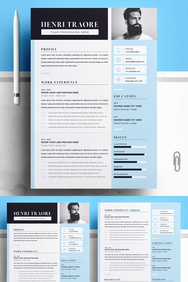 Blue and Grey Resume Template in 2020 Resume template
