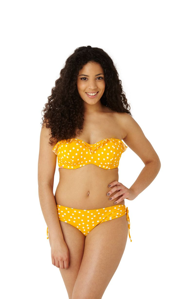 NEW Betty bandeau bikini in yellow spot, up to G cup…