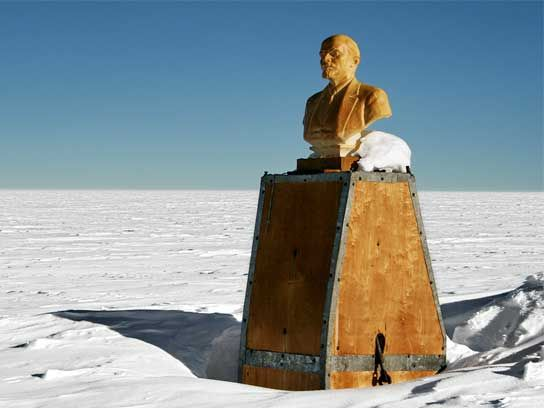 Lenin's Head in Subzero Antarctica-The South Pole of Inaccessibility is the point on Antarctica farthest from the sea—the literal middle of nowhere. Today, most of the 1956 built Soviet station is buried by snow, but you can still see its peculiar crown: Lenin's frozen head, gazing perpetually across the tundra toward Moscow.
