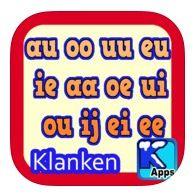 TWEEKLANKEN https://itunes.apple.com/nl/app/2-letters-vormen-1-klank./id768159225?mt=8 2 letters vormen samen 1 klank. Leer: eu, oe, ei, aa, ee, oo, ie, ij, au ou, uu en de ui klanken. NL begeleiding in de app. De app telt 240 scènes. Dus veel oefeningen te leren! Er is ook een antwoordknop om het kind het goede antwoord te tonen.  Voor lezertjes en NIET lezertjes geschikt, omdat de app vrij makkelijk gehouden is, met duidelijke aanduiding.