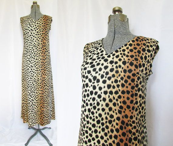 Leopard Maxi Dress Vintage 70s Large by GoodNPlentyVinty on Etsy