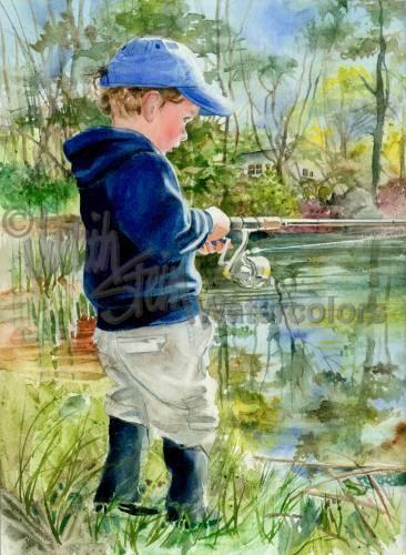 """Jongen Hengelsport, aas, visser, vissen paal, pakken, Lake, familie vakantie, kinderen aquarel afdrukken, kunst aan de muur, Decor van het huis, """"Fisher Boy"""""""