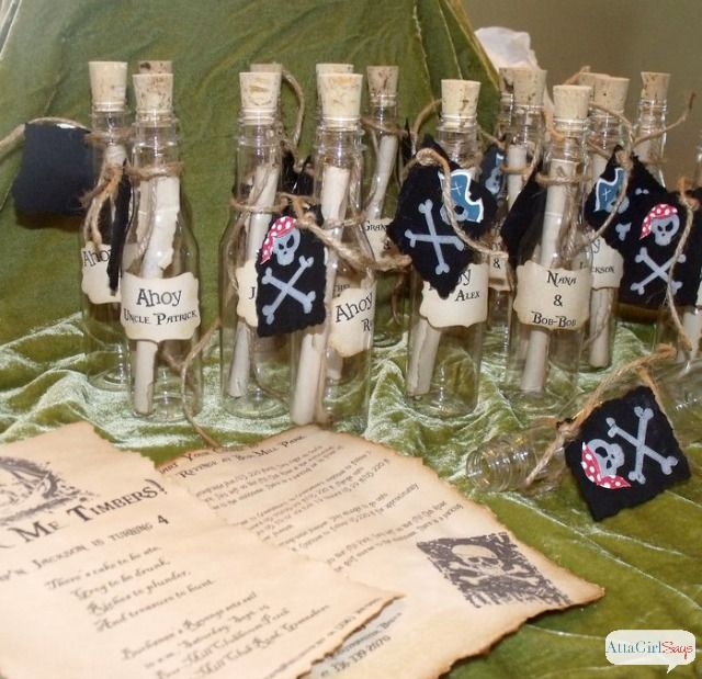 The 25 best Pirate birthday invitations ideas – Message in a Bottle Party Invitations