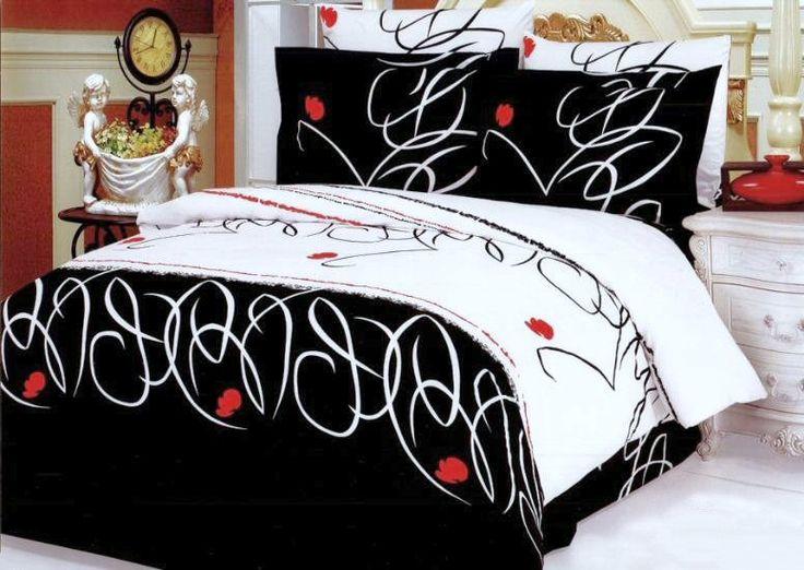 Modern Black White Red Teen Girl Bedding Full/Queen Duvet Cover Set Elegant Designer Cotton