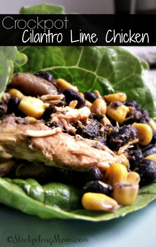 Crockpot Cilantro Lime Chicken is perfect served in a lettuce wrap ...