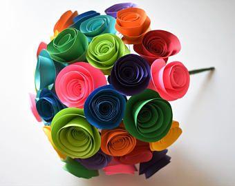Ramo de flores de papel arco iris, flores de papel de colores