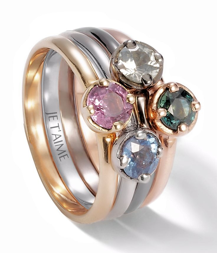 Yellow, white, black and pink gold (9k) rings, with pink, blue, white and green sapphires. Available here : http://lilouparis.com/en/configurator/rings  #lilou #rings #gold #sapphire #proposal #sayyes