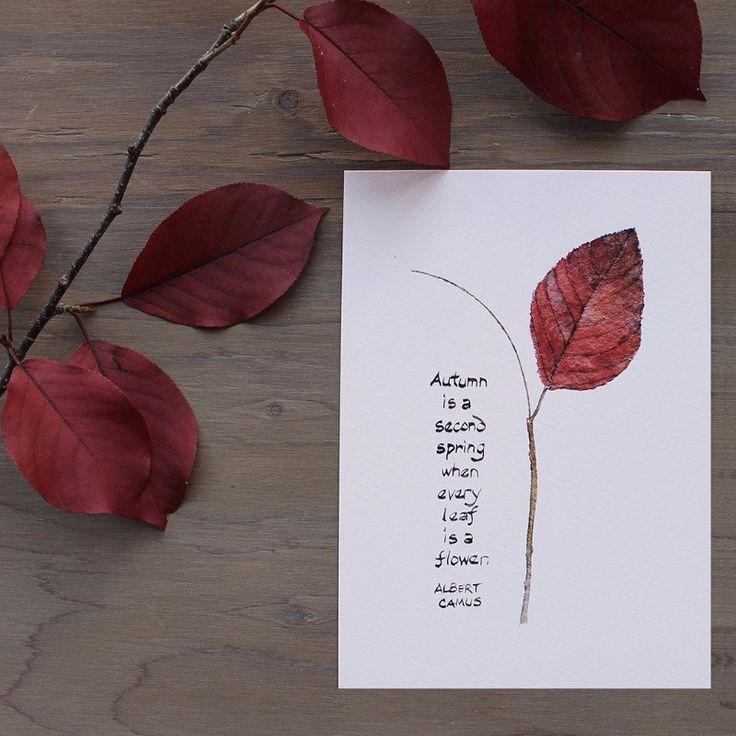 Autumn leaf watercolor with Albert Camus quote, trowelandpaintbrush.com