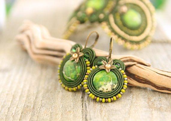 Green drop soutache earrings with green jasper stones by pUkke