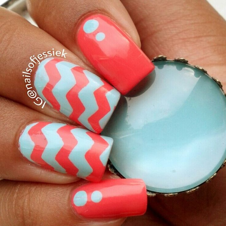 """Fun chevron mani using China Glaze Surreal Appeal"""" and Essie Mint Candy Apple"""". Holding a cabochon ring."""