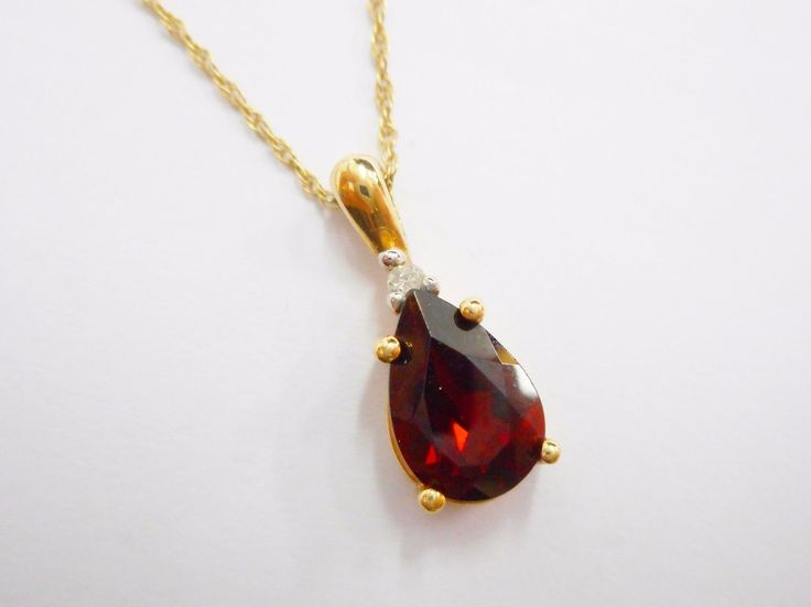 "Genuine 10k Yellow Gold Pear Shaped Garnet Pendant Necklace 18"" #2492"
