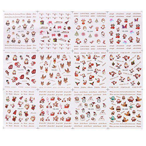 La Cabina Nail Art Noël Décoration Ongles DIY Ongles Outil Strass Autocollant Nail Art 12 Pièces: Caractéristiques: Matériel: Autocollant…