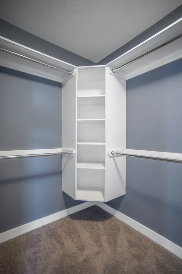 Walk In Closet With Floating Corner Shelves New Closet