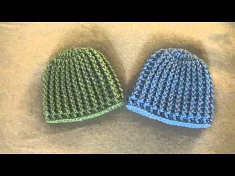 Crochet Ribbed Baby Beanie/Hat - YouTube