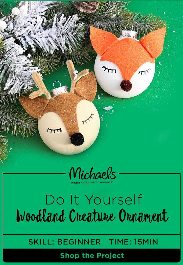 Transform your Christmas tree into a woodland forest! Add these handcrafted Woodland Creature Ornaments to your tree as a furry little DIY. Find the complete how-to and product list on the Michaels project page.