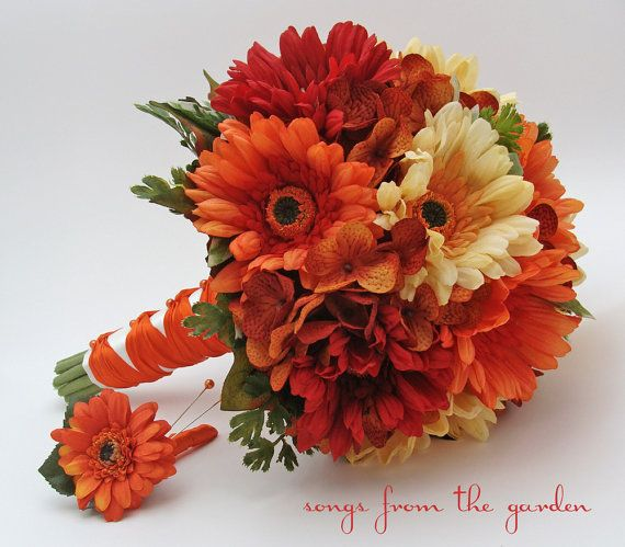 Autumn Wedding Bridal Bouquet Real Touch Gerber Daisies Silk Hydrangea Groom's Boutonniere Orange Red Yellow Fall Color Bridal Bouquet on Etsy, $110.00