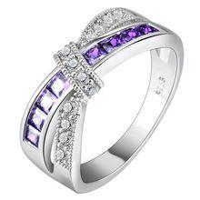 Cruz anel de dedo para lady pavimentada cz zircon Princesa Anel de Noivado de Casamento das mulheres de luxo quente rosa roxo cor de jóias alishoppbrasil