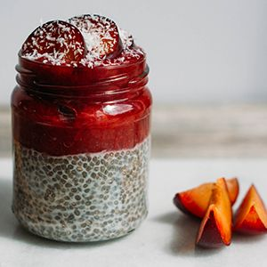 Plum & Chia Pudding by Niamh Browne. | A nutritious breakfast that you can pre-prepare and take with you on the go.