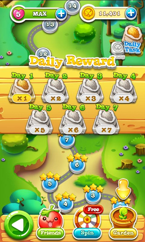 Garden Mania 2 by Ezjoy - Daily Reward - Match 3 Game - iOS Game - Android Game - UI - Game Interface - Game HUD - Game Art