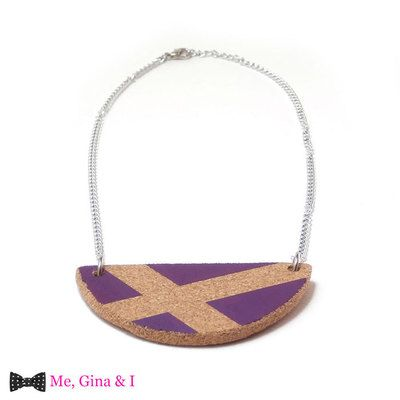 Purple semicircle short necklace made of cork.