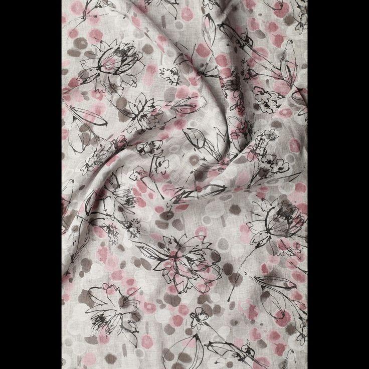 grijs linnen roze zwart fantasie gebloemd italiaans import