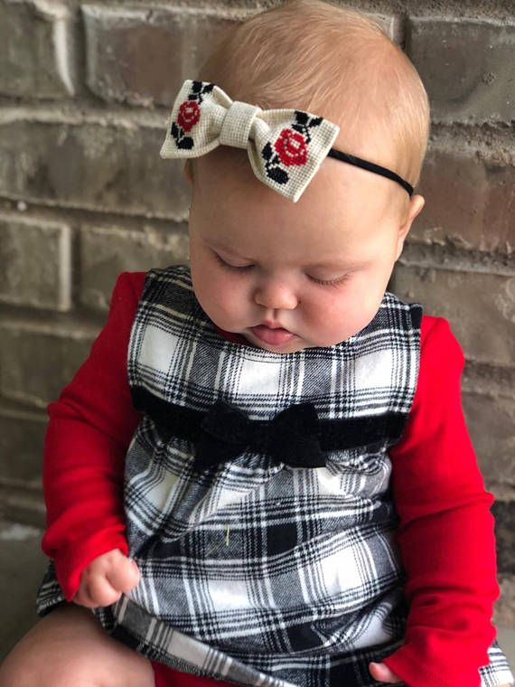Baby Bow Red and Black Headband Ukrainian Embroidered Bow